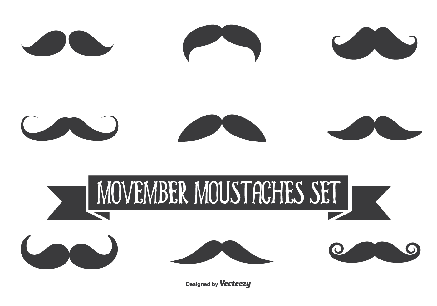 Movember Vector Moustache Set - Download Free Vector Art ...