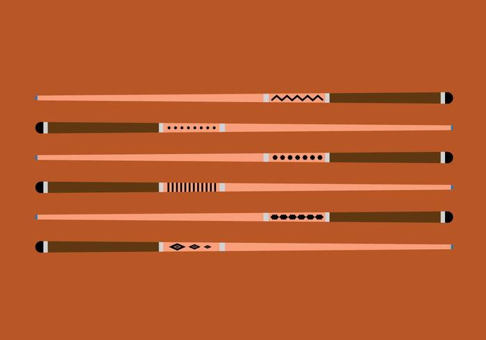 Pool Sticks Vector Set