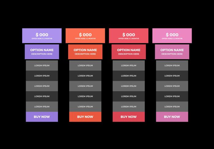 Free Pricing Table Vector