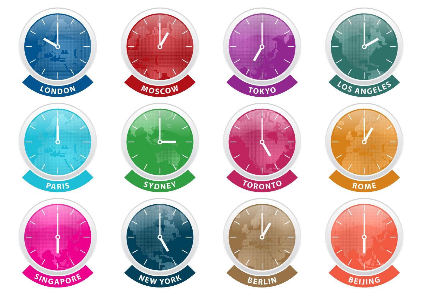 international time zone clock vectors download free