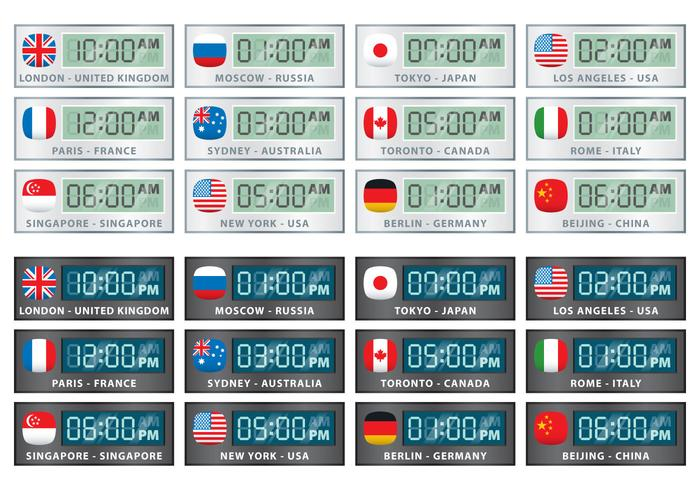 International Digital Clock Vectors