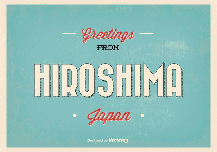 Retro Hiroshima Japan Greeting Illustratie