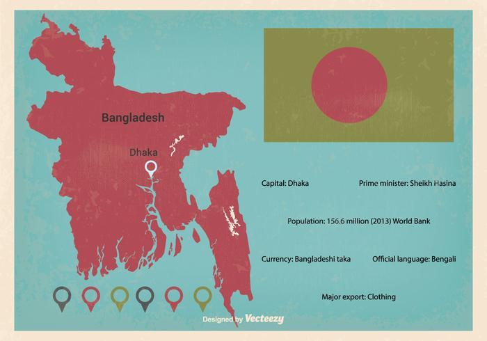 Ilustración retro del mapa del vector de Bangladesh