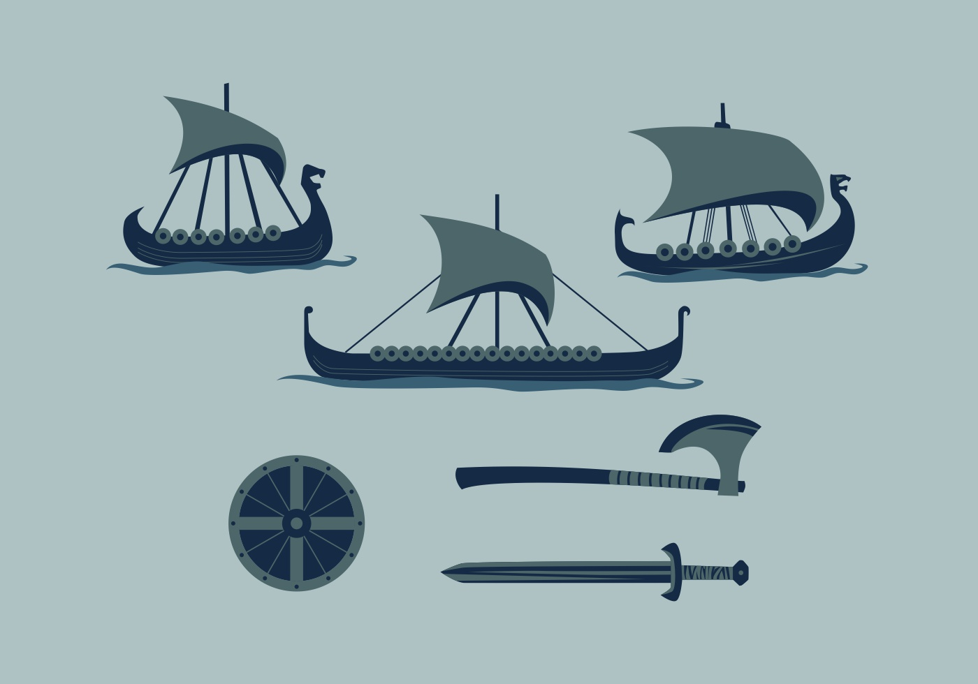 FREE VIKING SHIP 2 VECTOR - Download Free Vector Art ...