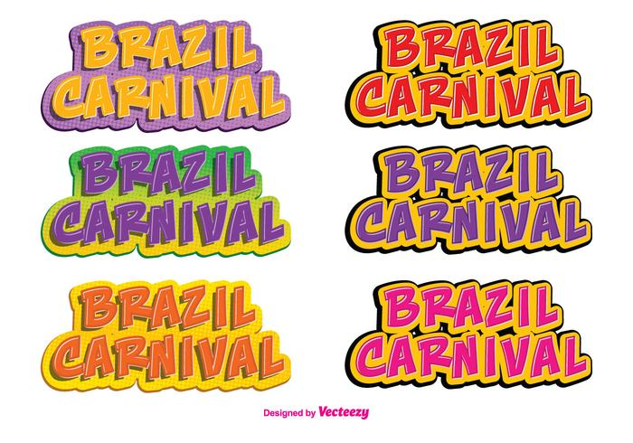 Brazil Carnival Vector Label Set