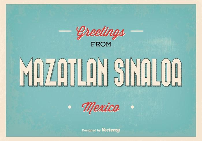 Rétro mazatlan sinaloa vector greeting illustration