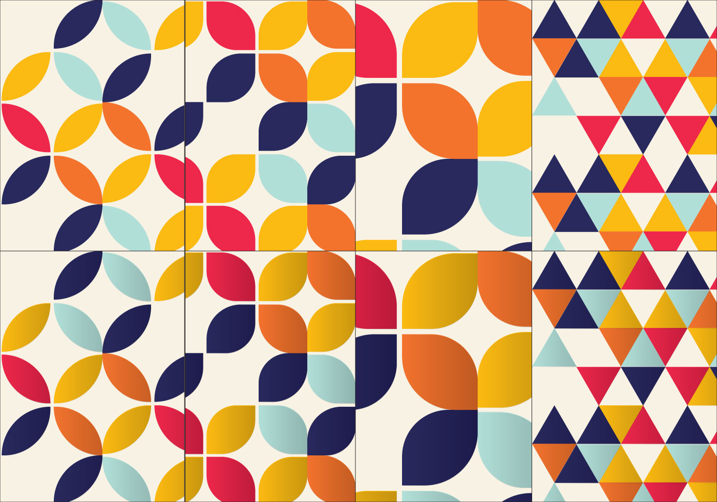 Bauhaus Inspired Pattern Set - Download Free Vector Art
