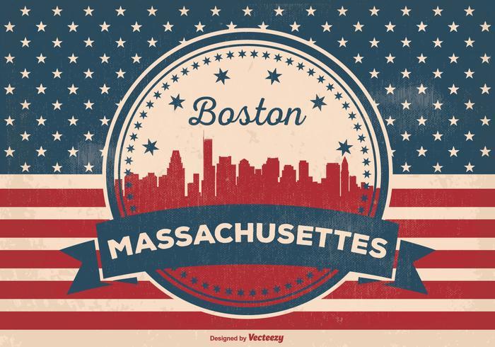 Boston Massachusettes Skyline Illustration