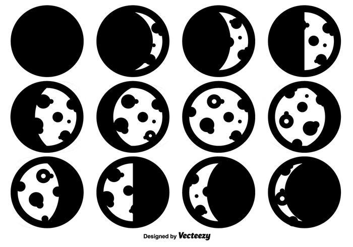 Ícones de vetor de fases de lua simples
