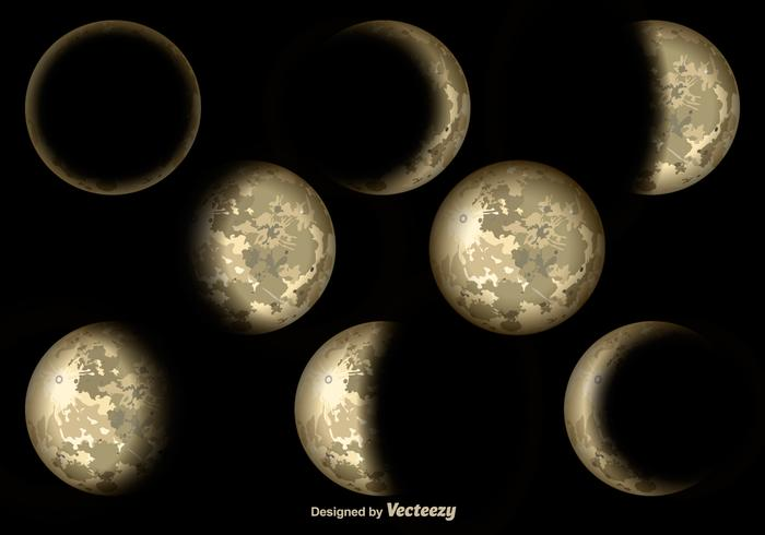 Realistic Moon Cycles Vector Elements