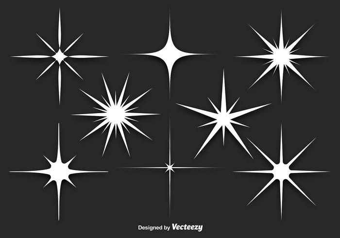 White Sparkles Vector Set Download Free Vector Art