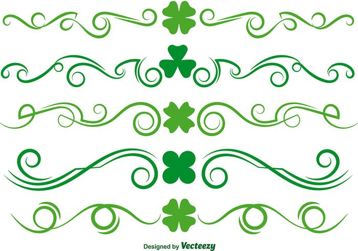 Ensemble de vecteur Scrollwork Green Clover