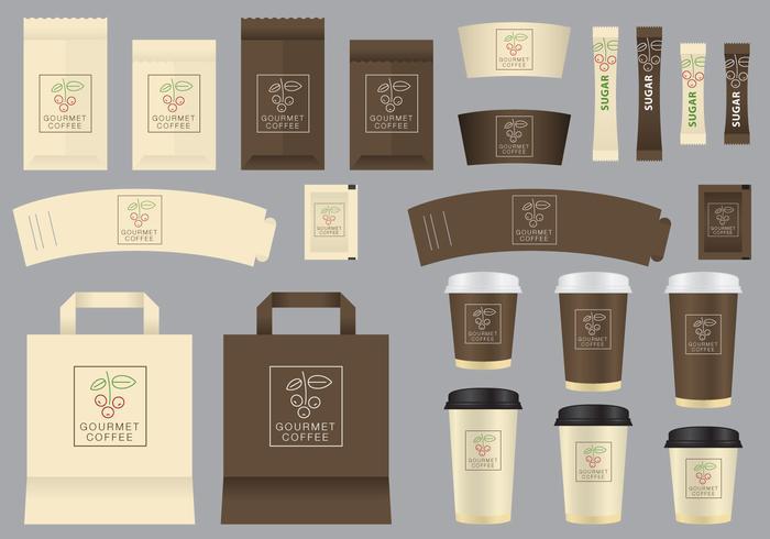 Modelos de cafés gourmet vetoriais vetor