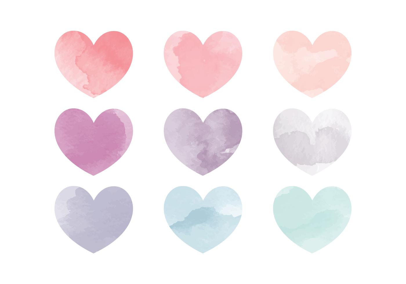 Vector Watercolor Hearts - Download Free Vector Art, Stock ...
