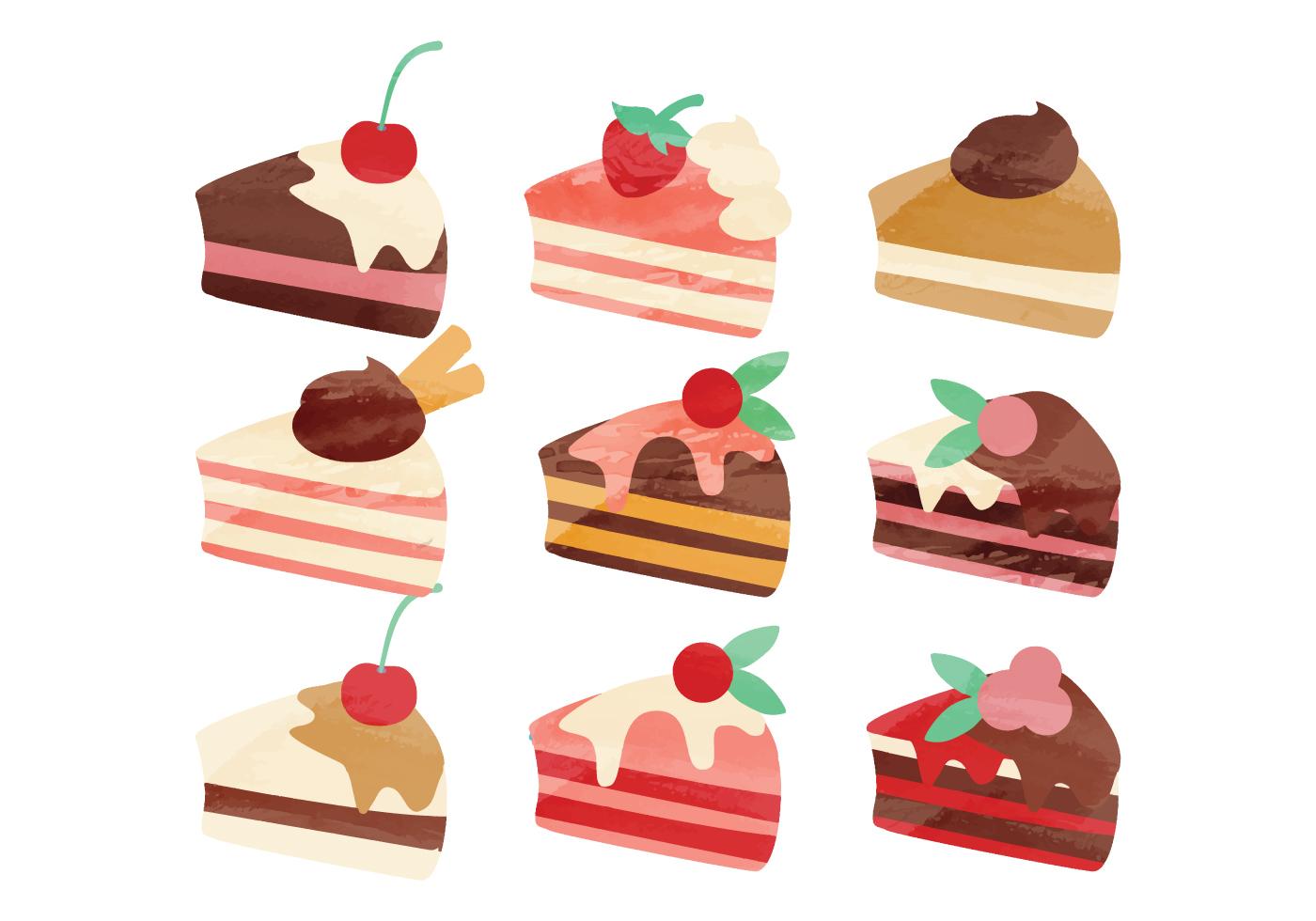 Cake Line Art Vector Free Download : Vector Watercolor Pieces of Cake - Download Free Vector ...