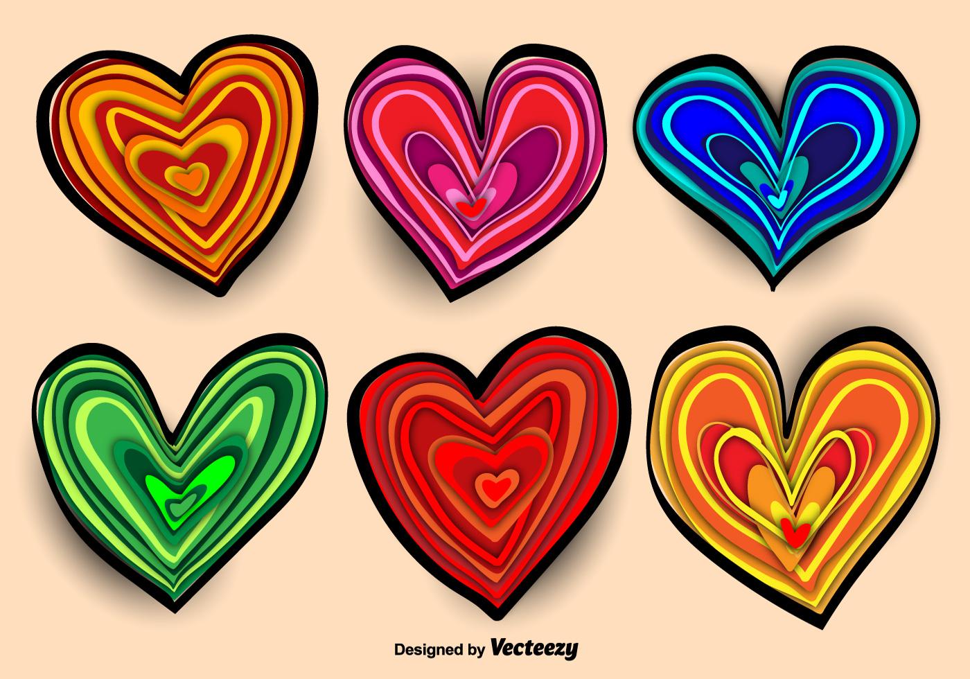 Colorful Hand-drawn Heart Vectors - Download Free Vectors ...
