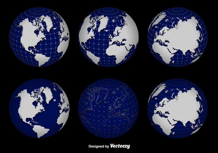 3d globo conjunto de vectores de red
