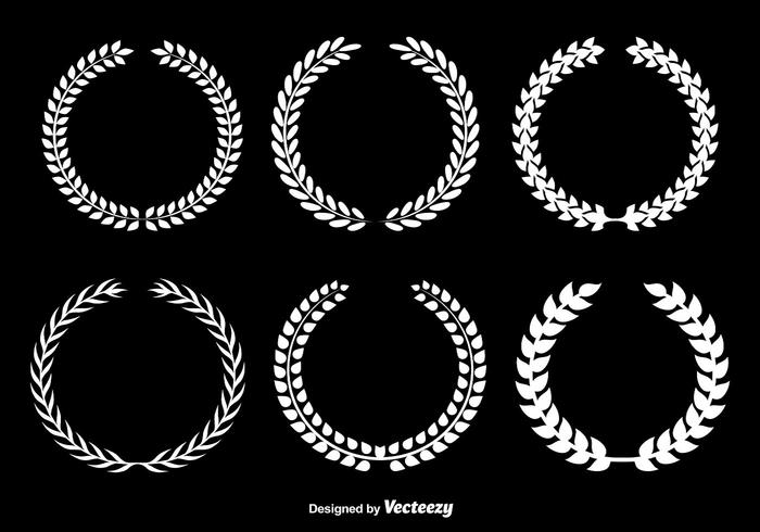 White Olive Wreaths Vector Set