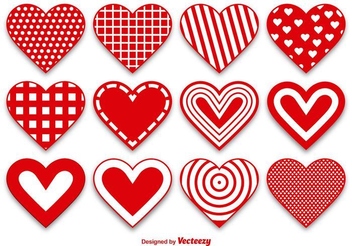 Set von modernen und niedlichen Herzvektoren
