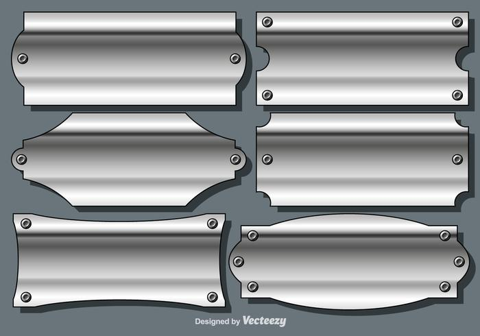 Conjunto de vetor de placas de nome de textura metálica