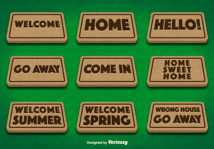 Doormat Set on Green Background Vectors