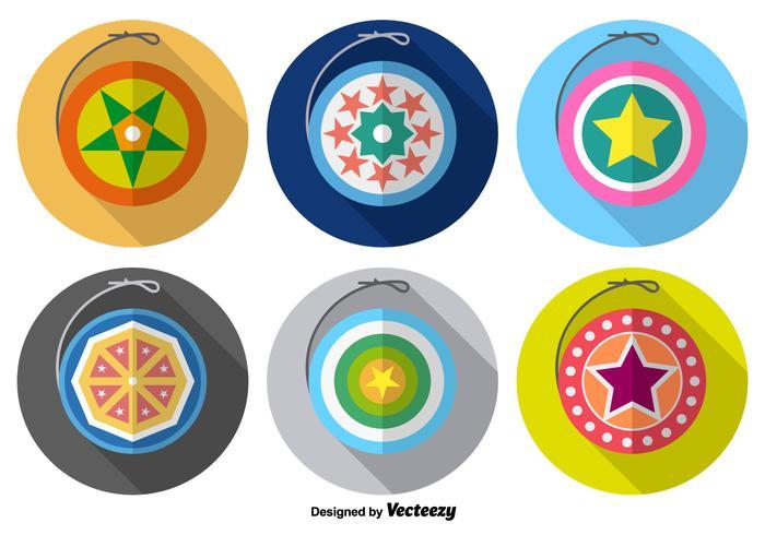 Cute yo-yo iconos de colores del vector