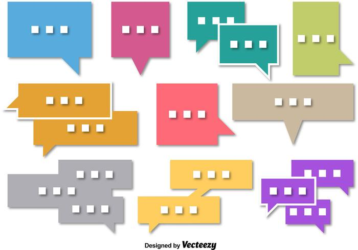 Set of Square Speech Bubble Vectors