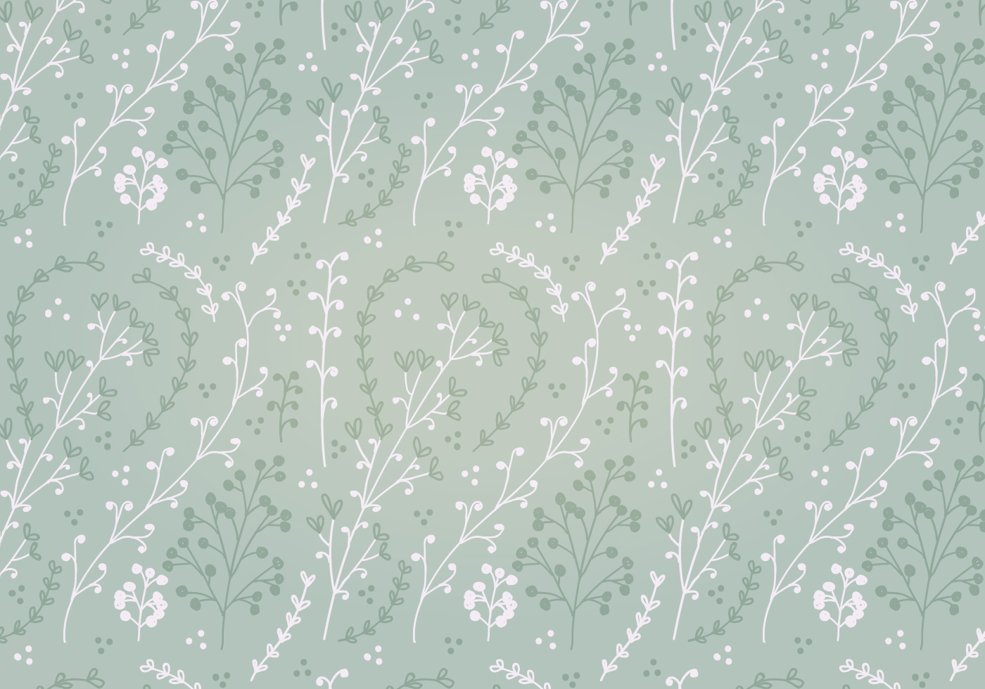 Free Soft Green Flower Vector Pattern Download Free