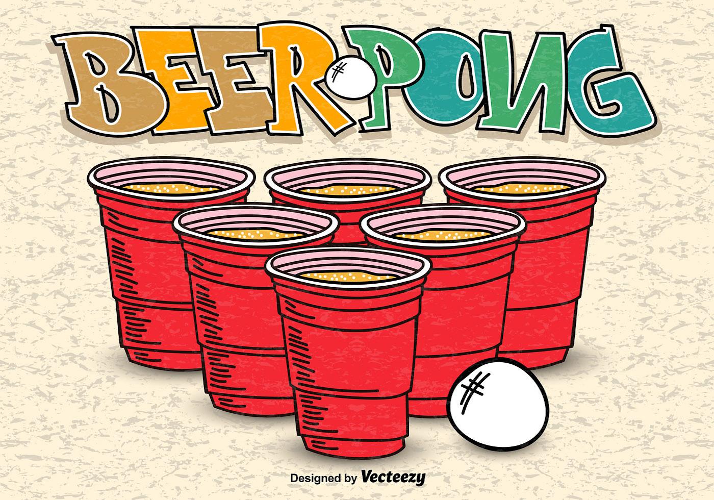 beer pong hand drawn poster vector download free vector. Black Bedroom Furniture Sets. Home Design Ideas