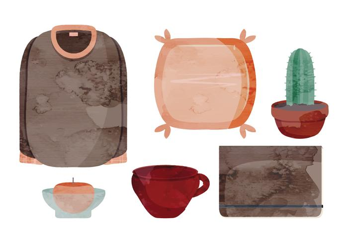 Vector Household Watercolor Accessories