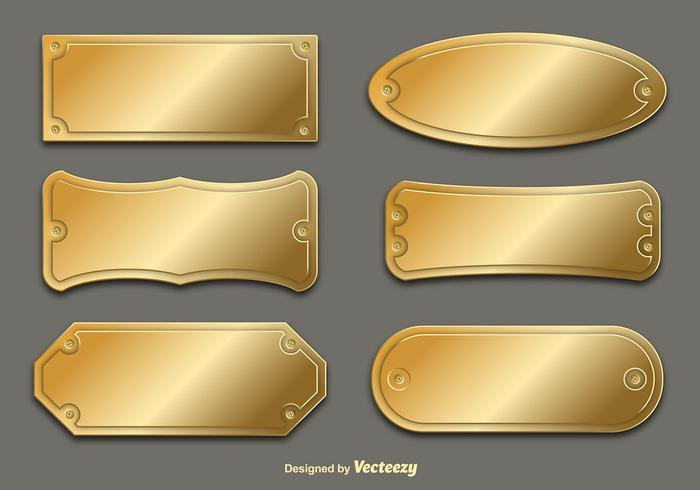 Vector Golden placas de nombre