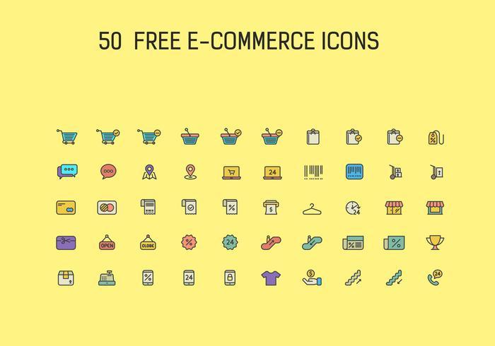 50 ecommerce ícone grátis conjunto de vetores