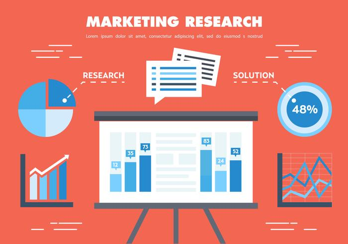 Gratis Flat Marketing Research Vector
