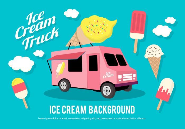 Flat Ice Cream Truck Vector Illustration