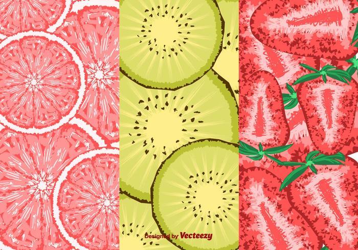 Rebanada de vector de patrones de frutas