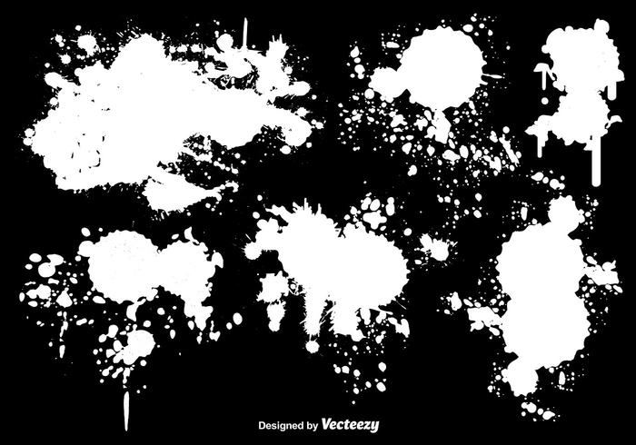 White Paint Splatter Vectors