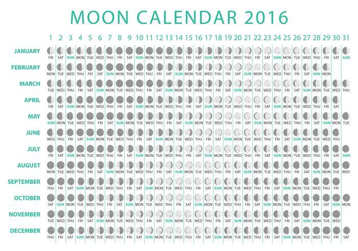 luna calendario 2016 del vector calendario lunar 2016 con fases de la