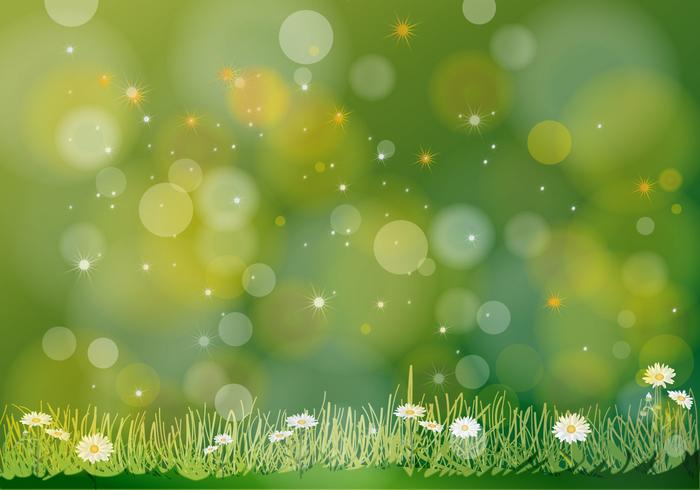 Abstract Green Vector Flowers Background