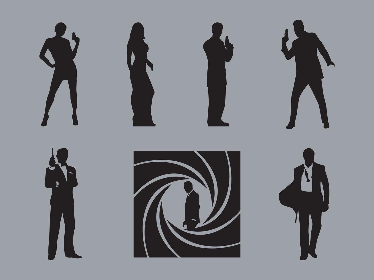 Vecteurs de silhouette de James Bond