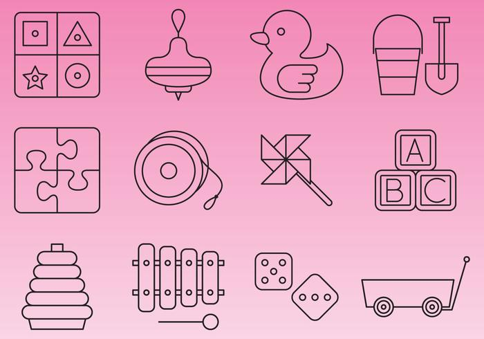 Learning Toys Line Icon Vectors