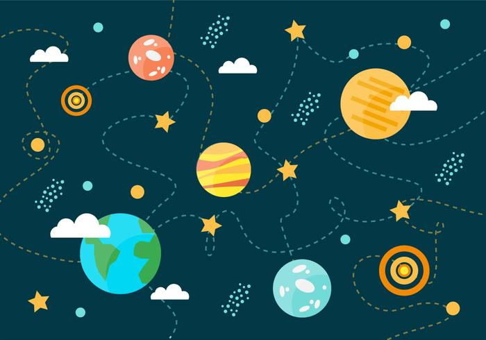 Collection of Space Planets Vector Background