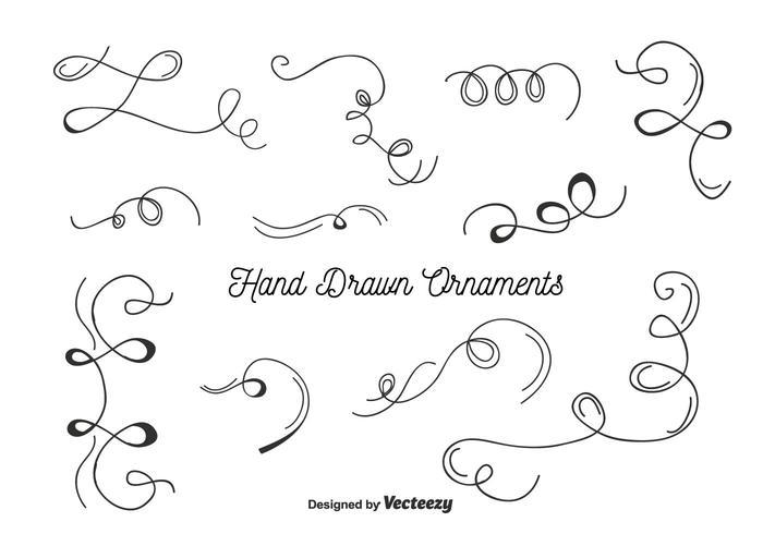 Ornamentos desenhados à mão conjunto vetor