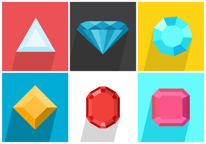 Set Of Colored Strass Vector Gems