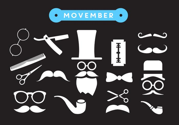 Movember Shave Vector Pictogrammen