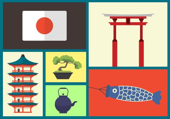 Japanska vektorns ikoner vektor