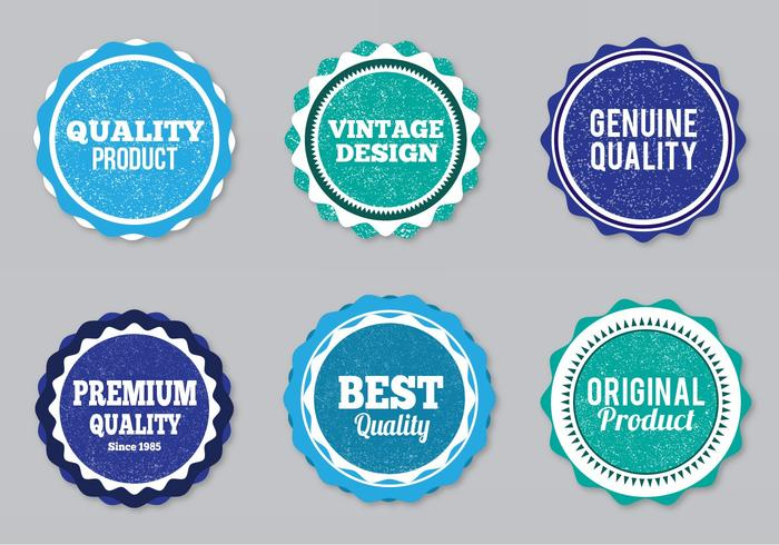 Free Vector Style Labels With Eroded Grunge