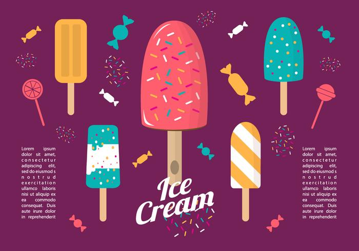 Libre Colorido Flat Ice Cream Vector