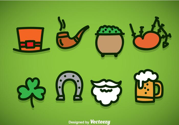 St Patricks Day Element Icons Vector