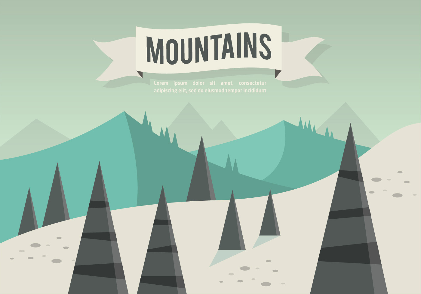 Town Landscape Vector Illustration: Free Flat Mountains Landscape Vector