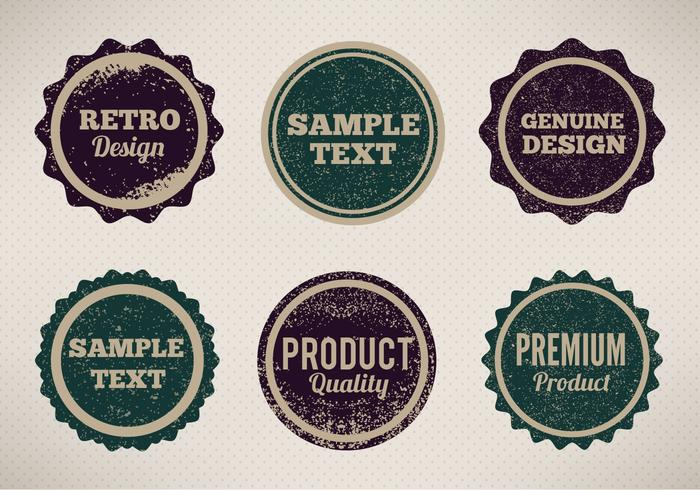 Free Vector Vintage Style Badges With Eroded Grunge
